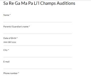 SRGMP Li'l Champs Audition